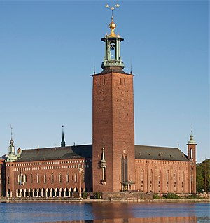 Stockholm City Hall - Stockholm City Hall, seen from the south, across Riddarfjärden