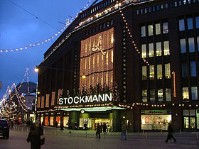 Stockmann department store in Helsinki at dawn in December 2004.jpg