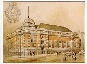 Stockport Central Library - Stockport Central Library perspective drawing 1911