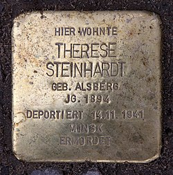 Photo of Therese Steinhardt brass plaque