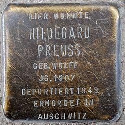 Photo of Hildegard Preuss brass plaque