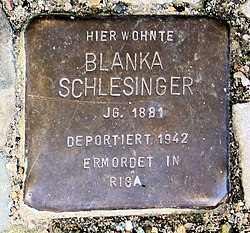 Photo of Blanka Schlesinger brass plaque