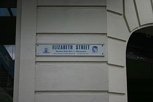 Elizabeth Macquarie - Street sign on Elizabeth Street, Hobart