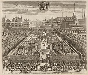 Makalös - This engraving from Suecia Antiqua et Hodierna shows Kungsträdgården facing south towards Norrström. Makalös is depicted near the centre of the image, Saint James's church to the right, and the Royal palace in the background.