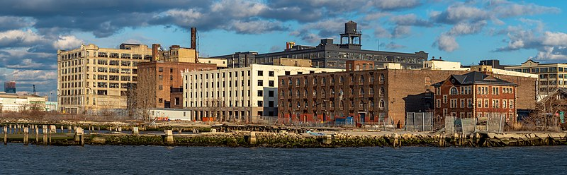 Panorama of the Sunset Park, Brooklyn industrial waterfront