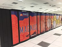A supercomputer in orange segments labelled Magnus in blue text.