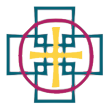 A yellow cross of equal length bars inside a red circle; both superimposed on hollow, overlapping teal squares centred on the four end points of the cross.