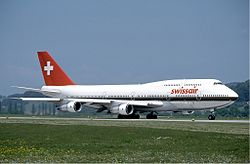 Swissair Boeing 747-300 at Zurich Airport in May 1985 version2.jpg