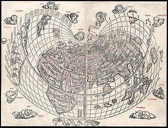 Bonne projection - World map by Bernard Sylvanus, 1511