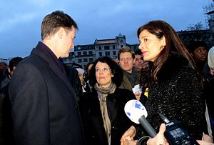 """Sylvie Bermann - Ambassador Bermann with Miriam and Nick Clegg in Trafalgar Square at the """"Je Suis Charlie"""" rally, 2015"""