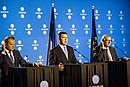 Tallinn Digital Summit. Press conference Donald Tusk, Jüri Ratas and Jean-Claude Juncker (36722565763).jpg
