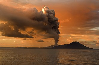 Types of volcanic eruptions - Tavurvur in Papua New Guinea erupting.