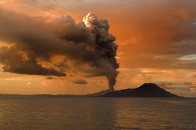 Sopka Tavurvur v Papui Novej Guinei
