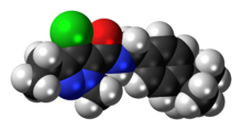 Space-filling model of the tebufenpyrad molecule