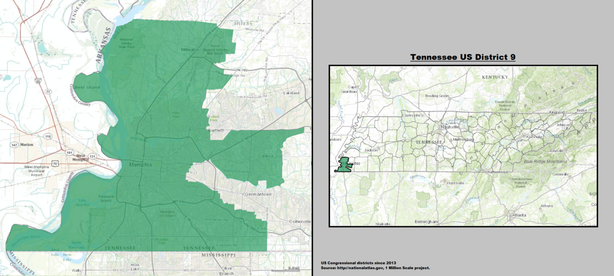 Tennessees Th Congressional District Wikipedia - Memphis tennessee on us map