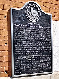 Texas Historical Commission Plaque on Former School Book Depository Building, Dallas, Aug 2019
