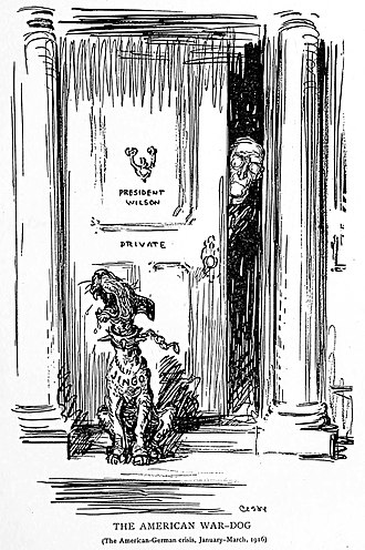 "Jingoism - The American War-Dog, a 1916 political cartoon by Oscar Cesare, with the dog named ""Jingo"""
