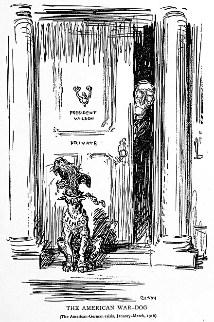 "The American War-Dog, a 1916 political cartoon by Oscar Cesare, with the dog named ""Jingo"" The American War-Dog by Oscar Cesare 1916.jpg"