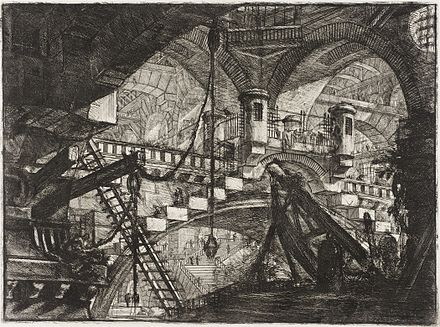 A Piranesi etching, Carceri Plate XI – The Arch with a shell ornament