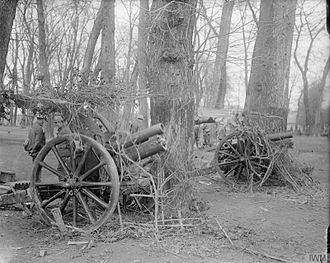 QF 4.5-inch howitzer - Camouflaged British 4.5 inch field howitzers at Arras April 1917