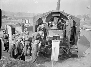 91st Heavy Anti-Aircraft Regiment, Royal Artillery - 4.5-inch HAA gun at Leeds 20 March 1941.