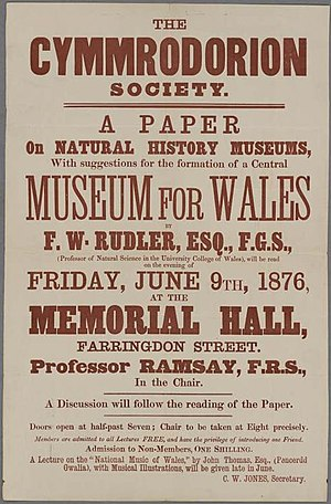 Honourable Society of Cymmrodorion - Poster publicising a meeting of the Cymmrodorion to discuss the establishment of a central Museum for Wales, June 1876.