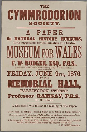 Amgueddfa Cymru – National Museum Wales - Poster by the Honourable Society of Cymmrodorion suggesting the formation of a National Museum of Wales, June 1876.