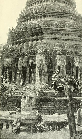 Laihka State - An elephant-supported pagoda in Laihka, a Shan capital which suffered terribly in the civil war that marked the reign of King Thibaw. A very similar pagoda stands in Muong Nan, one of the Lao Shan States