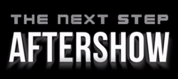 "The logo used for The Next Step aftershow, using the main logo as well as the words ""Aftershow"" with a white shadow."