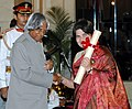 The President, Dr. A.P.J. Abdul Kalam presenting the Padma Bhushan Award – 2006 to Ms. Sai Paranjpye, a well known writer, and director, in New Delhi on March 20, 2006.jpg
