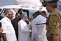 The Prime Minister, Dr. Manmohan Singh arrives at Raichur after making an aerial survey of flood-affected areas of Karnataka on October 10, 2009.jpg
