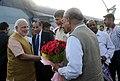 The Prime Minister, Shri Narendra Modi being welcomed by the Chief Minister of Andhra Pradesh, Shri N. Chandrababu Naidu on his arrival, at Sriharikota, in Andhra Pradesh on June 29, 2014.jpg