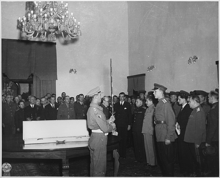 File:The Prime Minister in behalf of King George VI of Great Britain, presents The Sword of Stalingrad to Stalin, for the... - NARA - 195332.jpg