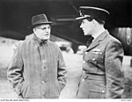 The Right Honourable John Curtin, Prime Minister of Australia (left) with fellow Western Australian Group Captain (Gp Capt) Hughie I. Edwards VC DSO DFC.JPG
