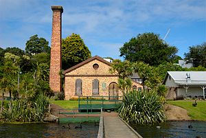 Lake Pupuke - The historic pump house, now functioning as the PumpHouse Theatre