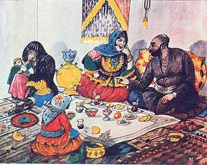 Polygyny in Islam - Azim Azimzade painting criticizing polygyny in Muslim communities. (Old wife and a new one in 1935).
