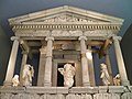 The reconstructed façade of the Nereid monument of Xanthos, British Museum, London (9500954511).jpg