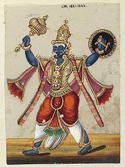 This painting depicts Kumbhakarna, brother of Ravana