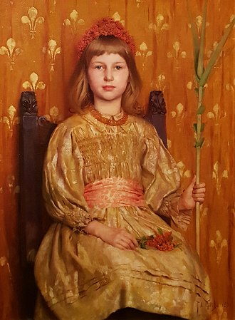 Thomas Cooper Gotch - My Crown and Sceptre, 1892 (the sitter appears to be Phyllis, his daughter). This was his first work in his new style: two years later, he would rework it into the more powerful The Child Enthroned, his master work