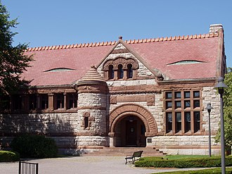 Henry Hobson Richardson - The Thomas Crane Public Library (Quincy, Massachusetts), with Japanese inspired eyelid dormers in the roof on each side of the entrance