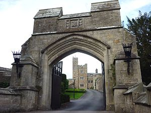Thurland Castle - Thurland Castle seen though the arch of the gateway of the bridge crossing the moat