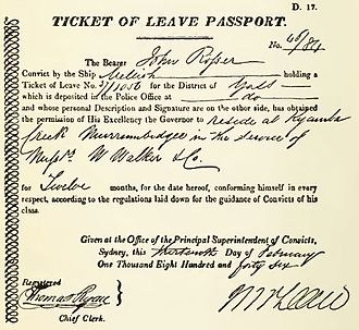 Ticket of leave - NSW Colonial Government - 1846 Convict Ticket  of Leave Passport