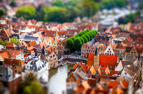 A tilt shift miniature fake view of Bruges taken from the Belfry