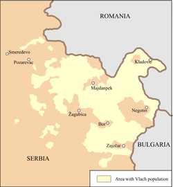 Area inhabited by Romanians in 2004 according to Romanian organizations