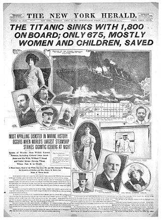 Madeleine Astor - Newspaper report of the sinking of the Titanic. Most reports featured the Astors in the headlines.