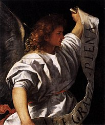 Titian - Polyptych of the Resurrection - Archangel Gabriel - WGA22785.jpg