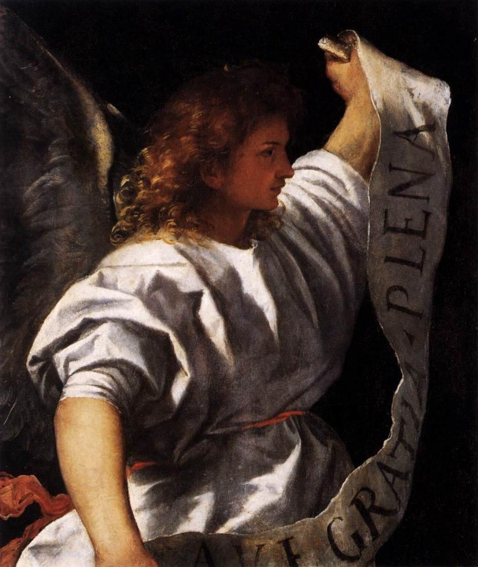 Titian - Polyptych of the Resurrection - Archangel Gabriel - WGA22785