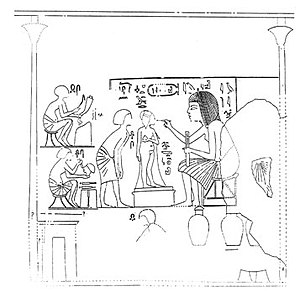 Amarna Tomb 1 - The sculptor Iuti-Iuti working on a statue of Beketaten.