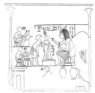 Amarna Tomb 1 - The sculptor Iuti-Iuti working on a statue of Beketaten.