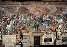 Peinture avec des couleurs vives, désormais légèrement ternies, représentant un affrontement désordonné avec des combattants à cheval et des soldats de l'infanterie.